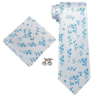 Men's Blue & White Floral 100% Silk Neck Tie Set Cufflinks & Hanky 1824E - regular