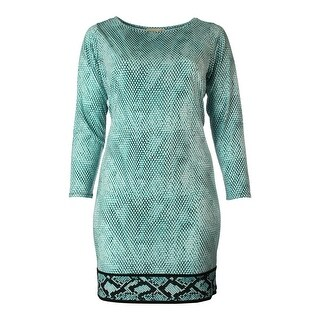 MICHAEL Michael Kors Womens Plus Snake Print Long Sleeves Cocktail Dress - 3X