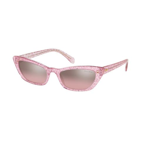 Miu Miu MU 10US 1467L1 53 Glitter Pink Woman Cat Eye Sunglasses