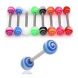"UV Torando Ball Barbell (Sold Individually) - 14 GA 5/8"" Long (6mm Ball)"