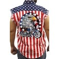 Men's USA Flag Sleeveless Denim Shirt Red White & Bold Biker Stars & Stripes - Thumbnail 0