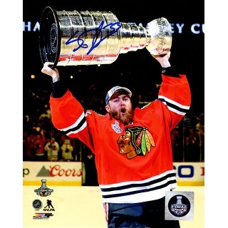 Scott Darling Signed Chicago Blackhawks 2015 Stanley Cup Trophy 8x10 Photo
