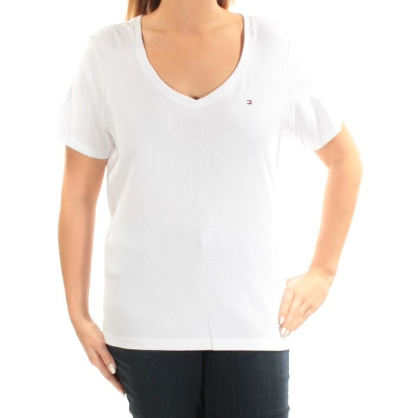 788071b76b Shop TOMMY HILFIGER Womens White Short Sleeve V Neck Top Plus Size  0X -  Free Shipping On Orders Over  45 - Overstock - 23451199
