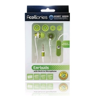 Premium Acellories 3.5mm Universal Earbud with Mic and On/Off Button - Green