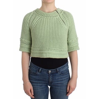 Ermanno Scervino Green Cropped Knit Sweater Knitted Jumper - it42-s