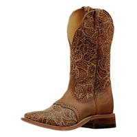 "Boulet Western Boots Womens Leather Floral Sumumtex 11"" Tan Brown"