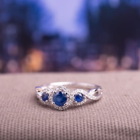 Exclusive - Sapphire and 1/8ct TDW Diamond 3-stone Infinity Engagement Ring in 10k White Gold by Miadora