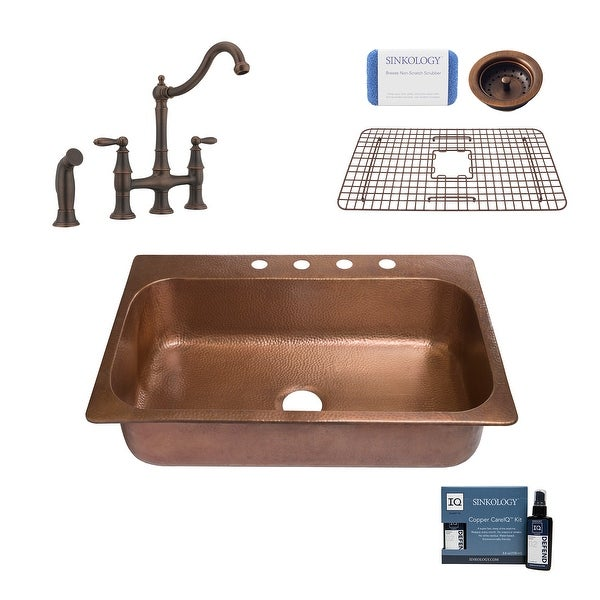 """Angelico 33"""" Drop-in Copper Kitchen Sink with Bridge Faucet and Strainer Drain. Opens flyout."""