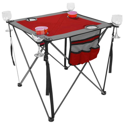 "29"" Red and Black Outdoor UV Resistant Folding Wine Table"
