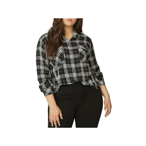 Sanctuary Womens Plus Button-Down Top Plaid Long Sleeves - 3X