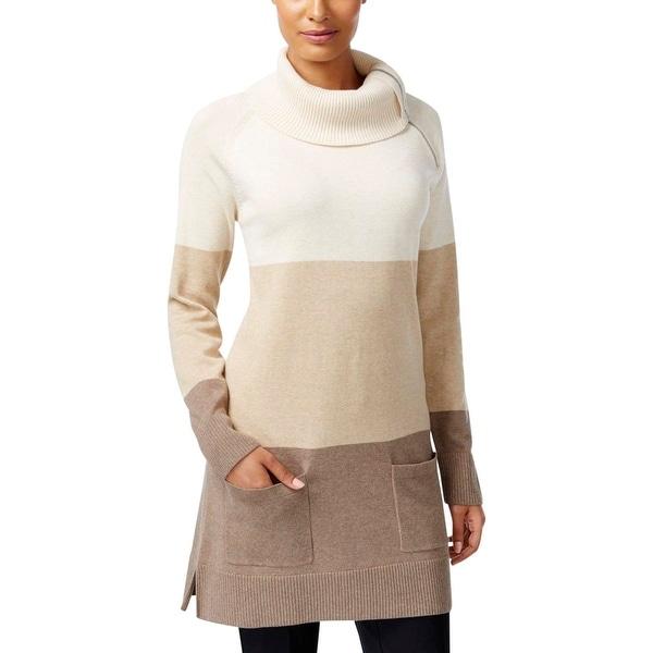 Shop Jeanne Pierre Womens Tunic Sweater Knit Colorblock Free