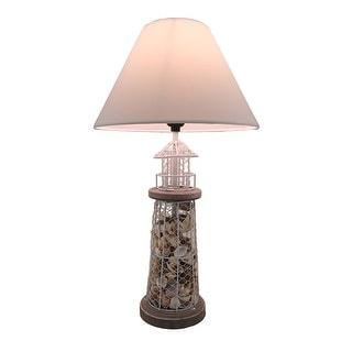 Seashell Filled Metal Mesh Lighthouse Lamp - White