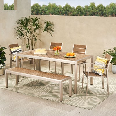 Cape coral outdoor modern six seater aluminum dining set with dining bench