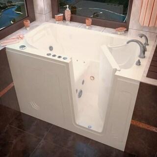 "Avano AV3054RD Walk-In Tubs 53-7/8"" Acrylic Air / Whirlpool Bathtub for Alcove Installations with Right Drain, Roman Tub Faucet"