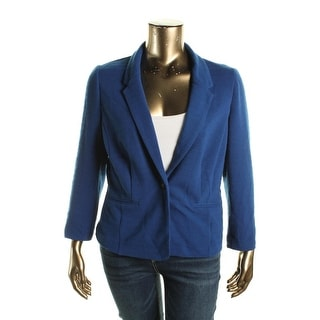 Kensie Womens Ribbed Long Sleeves One-Button Blazer