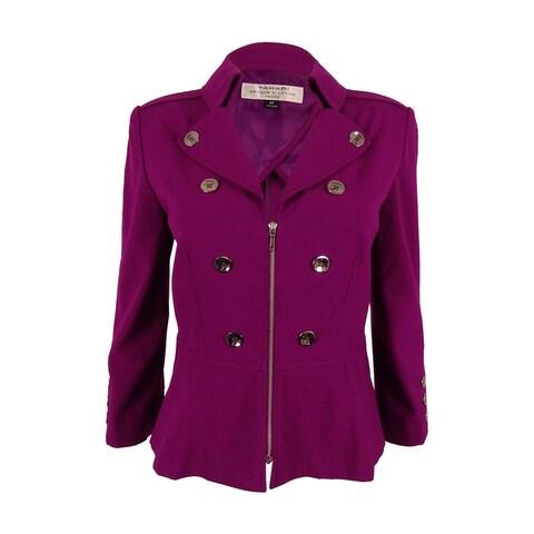 Tahari Women's 3/4 Sleeve Blazer Jacket - BERRY - 6P