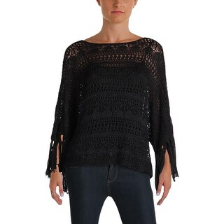 Lauren Ralph Lauren Womens Poncho Sweater Sheer Crochet