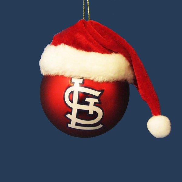 """3"""" Red and White MLB St. Louis Cardinals Shatterproof Christmas Ball Ornament (75mm)"""
