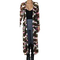 Funfash Plus Size Women Camo Pink Mesh Kimono Long Duster Cardigan USA