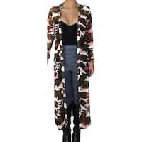 Funfash Women Camo Pink Mesh Kimono Long Duster Cardigan Coat Jacket