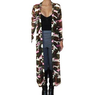 Funfash Women Camo Pink Mesh Kimono Long Duster Cardigan Coat Jacket