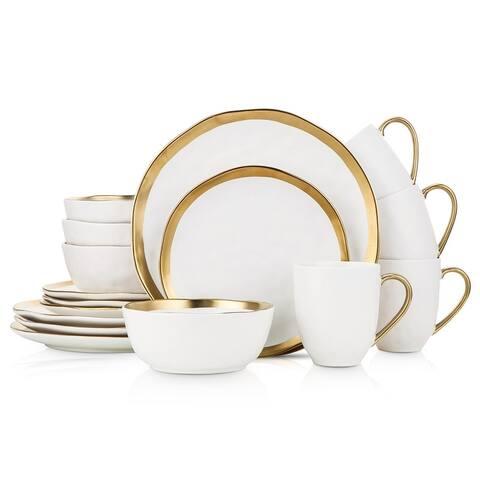 Stone Lain Porcelain Gold Halo Dinnerware Set