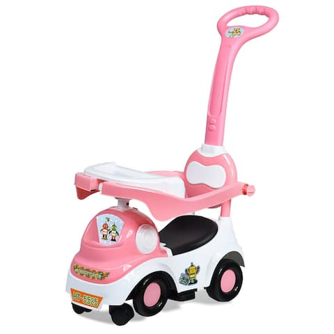 3-in-1 Ride On Push Car with Music Box & Horn-Pink