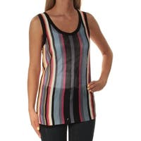 ANNE KLEIN Womens Blue Striped Sleeveless Jewel Neck Top  Size: XS