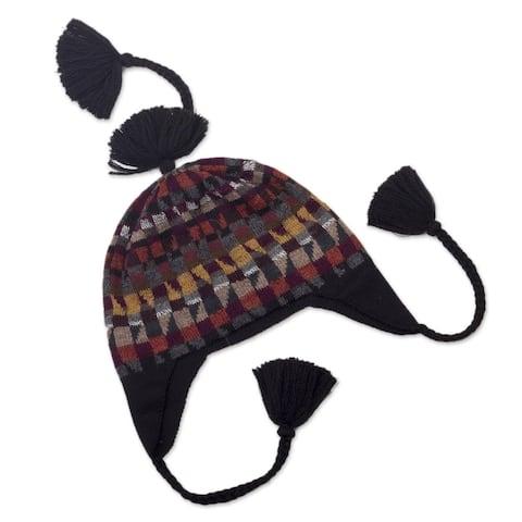 NOVICA Andean GeometryWool chullo hat