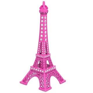 Unique Bargains Rhinestone Detail Eiffel Tower Construction Model Ornament 18cm Height Magenta