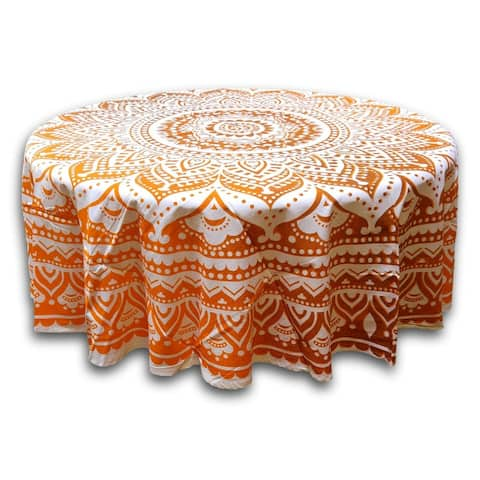Handmade Cotton Tie Dye Floral Tablecloth Round 69 Inches Orange Brown White