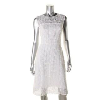 Elie Tahari Womens Crochet Overlay Textured Wear to Work Dress - 10