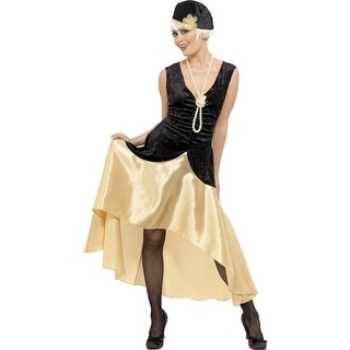 20's Gatsby Girl Costume Dress Adult: Gold & Black