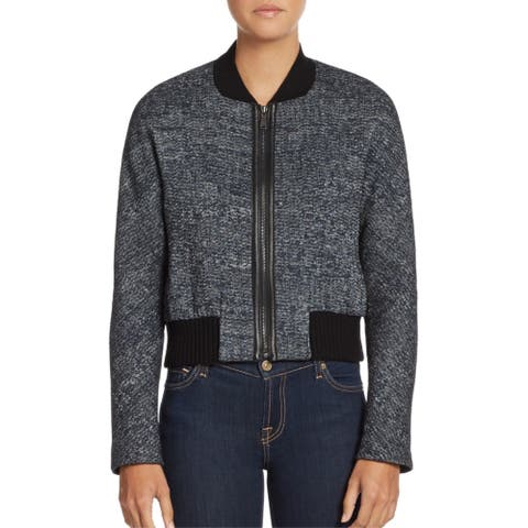 Elie Tahari Mackenzie Black Tweed Bomber Jacket (L)