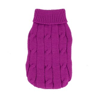 Pet Dog Chihuahua Twisted Knit Ribbed Cuff Warm Coat Clothes Sweater Fuchsia Size XXS