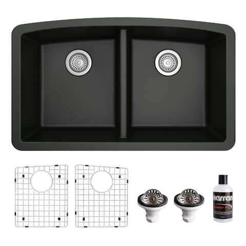 Karran Undermount Quartz 32 in. 50/50 Double Bowl Kitchen Sink Kit