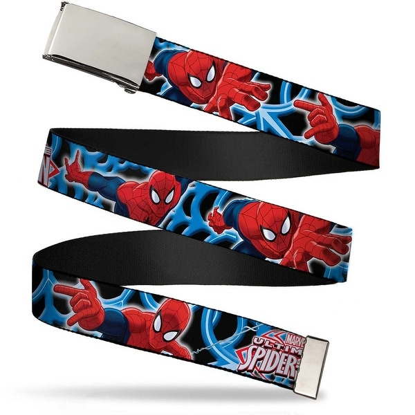 Ultimate Spider Man Blank Chrome Buckle The Ultimate Spider Man Poses Web Belt - S