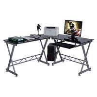 Costway L-Shape Glass Top Computer Desk PC Laptop Table Workstation