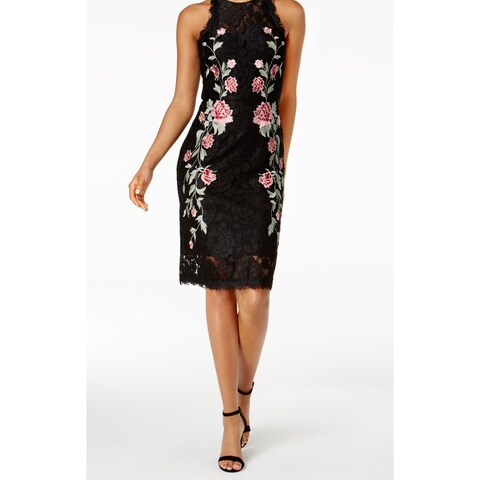 Betsy & Adam Womens Floral Embroidery Sheath Dress