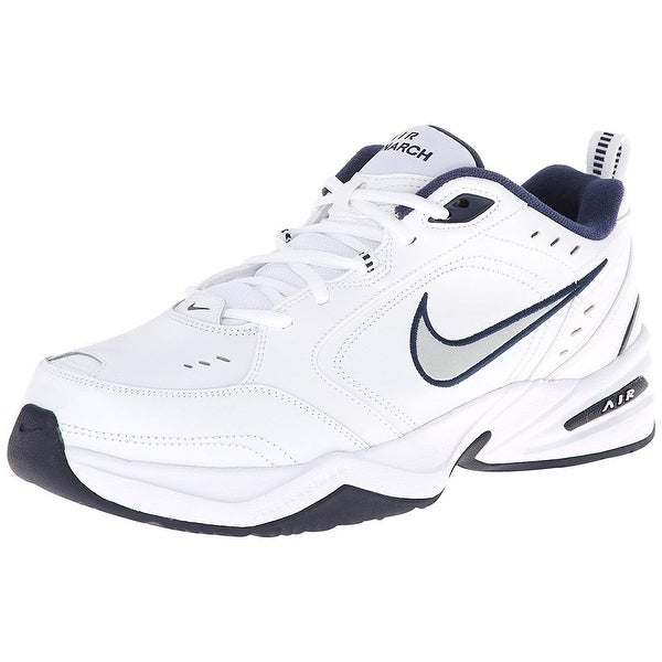 9fe70496b61 Shop Nike Men s Nike Air Monarch Iv (4E) Running Shoes White   Metallic  Silver-Midnight Navy Us 10.5 M - Free Shipping Today - Overstock - 25639820