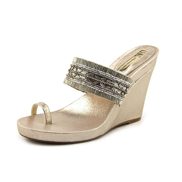 19cc529f25ae INC International Concepts Limon 2 Women Open Toe Canvas Gold Wedge Sandal