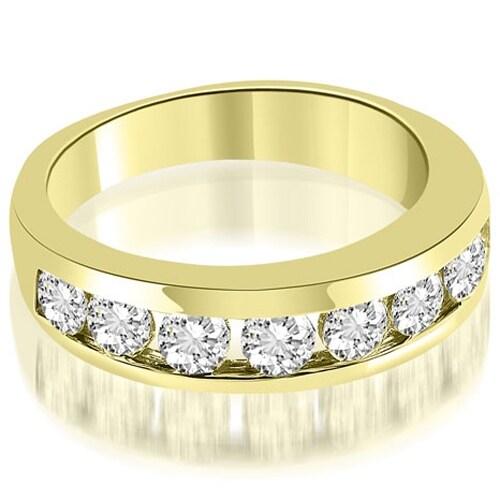 1.35 cttw. 14K Yellow Gold Classic Channel Round Cut Diamond Wedding Band