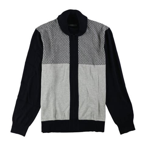 Sean John Mens Zig-Zag Colorblocked Cardigan Sweater