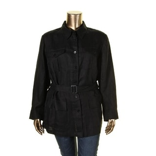 Lauren Ralph Lauren Womens Plus Jacket Long Sleeves Belted