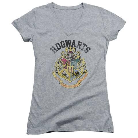 Harry Potter Hogwarts Crest Juniors V-Neck Shirt