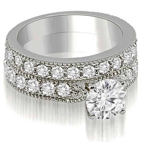 2.95 cttw. 14K White Gold Antique Milgrain Round Diamond Bridal Set