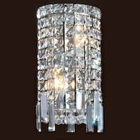 "Worldwide Lighting W23610C6 Cascade 2-Light 6"" ADA Wall Sconce in Chrome with Clear Crystals - N/A"