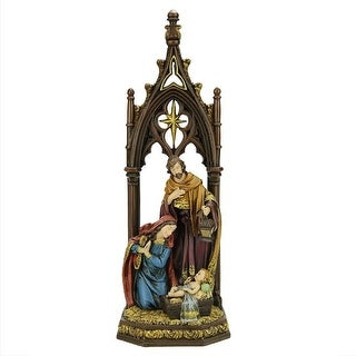 """12"""" Jewel Tones Religious Holy Family with Regal Arch Christmas Nativity Figure - N/A"""