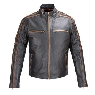 MENS REAL LEATHER ANTIQUE JACKET BLACK MOTORCYCLE OLD SCHOOL STYLE