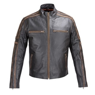 MENS REAL LEATHER ANTIQUE JACKET BLACK MOTORCYCLE OLD SCHOOL STYLE FJ6